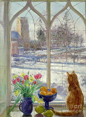 Spring Scenes Painting - Snow Shadows And Cat by Timothy Easton