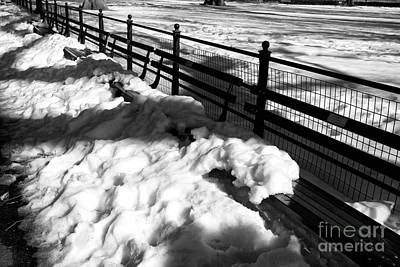 Park Benches Photograph - Snow Shadows by John Rizzuto