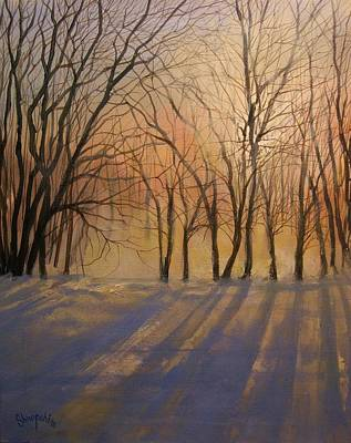 Snow Scene Painting - Snow Shadows by Tom Shropshire
