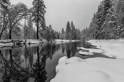 Photograph - Snow Shower Along Merced Riverbank by Jonathan Nguyen