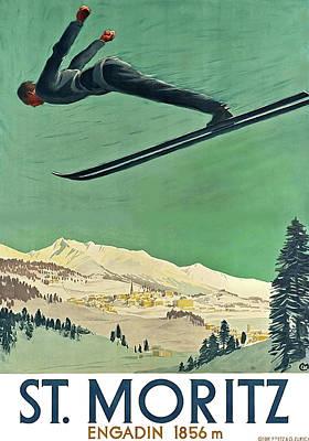 Art Of Hockey Mixed Media - Snow Ski, St. Moritz, Engadin by Thomas Pollart