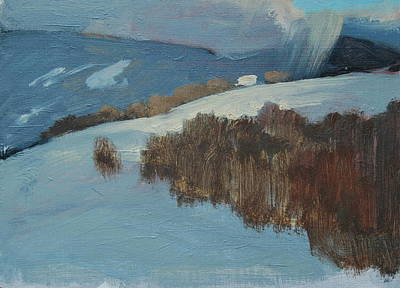 Distant Mountains Painting - Snow Squall by Len Stomski