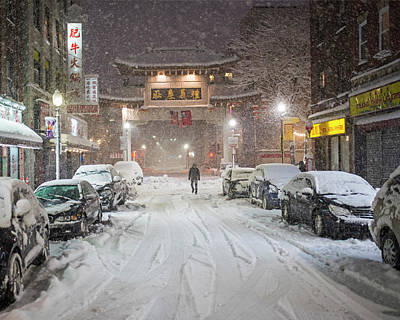 Photograph - Snow Storm In Chinatown Boston Chinatown Gate by Toby McGuire