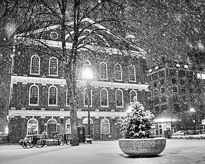 Photograph - Snow Storm In Faneuil Hall Quincy Market Boston Ma Black And White by Toby McGuire