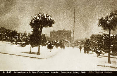 Taber Photograph - Snow-storm In San Francisco Sunday December 31 1882 I. W. Taber by California Views Mr Pat Hathaway Archives
