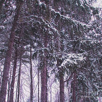 Snow Storm On Pines Art Print