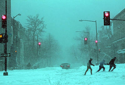 23 Hours Photograph - Snow Storm Street Crossers In Twilight Blue by Cora Wandel