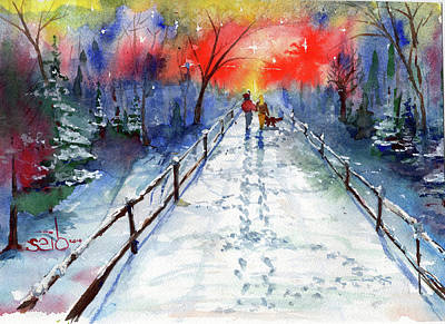 Donny Painting - Snow Stroll by Don Seib