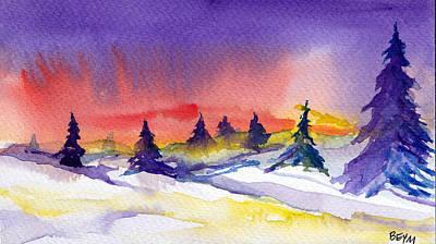 Painting - Snow Sunset by Clara Sue Beym