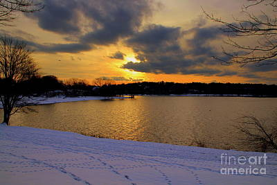 Photograph - Snow /sunset by Lennie Malvone