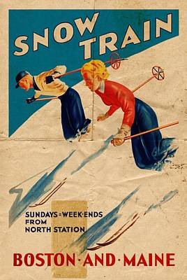 Mixed Media - Snow Train - Folded by Vintage Advertising Posters