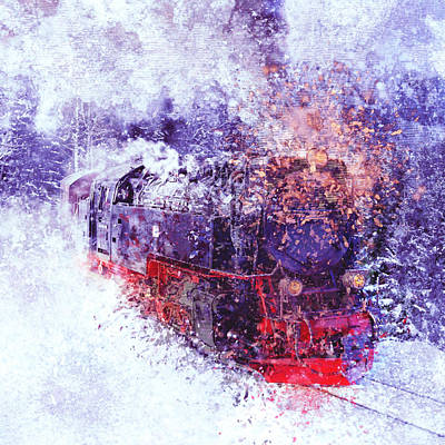 Digital Art - Snow Train by Yury Malkov