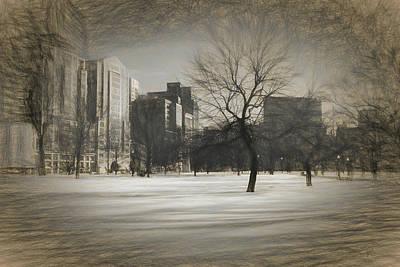 Drawing - Snow Tree by Thomas Logan