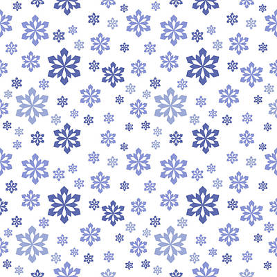 Digital Art - Snow White With Blue Snowflake Pattern by Lynn-Marie Gildersleeve