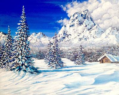 Painting - Snow Winter Montagnes Scene  by Alban Dizdari