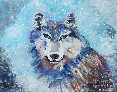 Wolf Painting - Snow Wolf - Animal Art By Valentina Miletic by Valentina Miletic