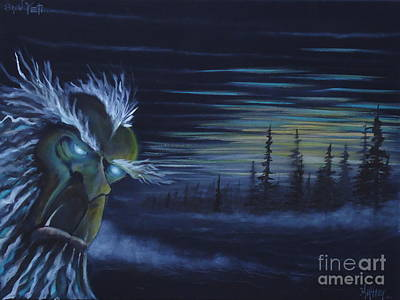 Snowy Night Painting - Snow Yeti  by Zach Kintner