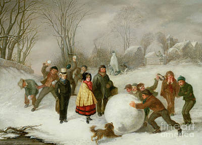 Wintry Painting - Snowballing   by Cornelis Kimmel
