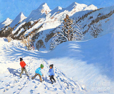 Snowball Fight Painting - Snowballing, La Clusaz, France by Andrew Macara