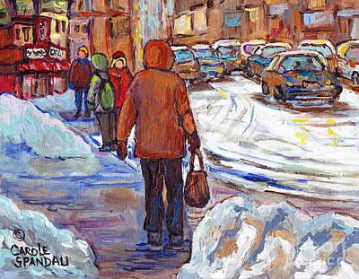 Painting - Snowbanks On St Lawrence Winter Walking To Schwartz Deli Montreal Painting C Spandau Canadian Artist by Carole Spandau