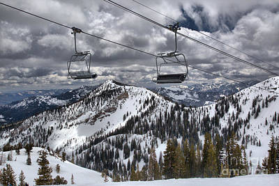 Photograph - Snowbird Baldy Lift Chairs by Adam Jewell