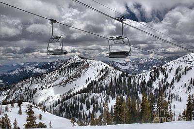 Photograph - Snowbird Baldy Lift Chairs by Adam Jewell