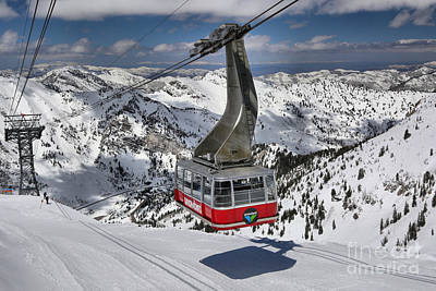 Arial Photograph - Snowbird Cable Car by Adam Jewell