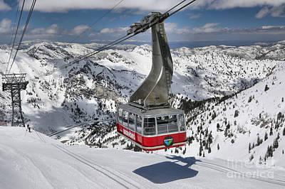 Arial Photograph - Snowbird Hidden Peak Tram by Adam Jewell