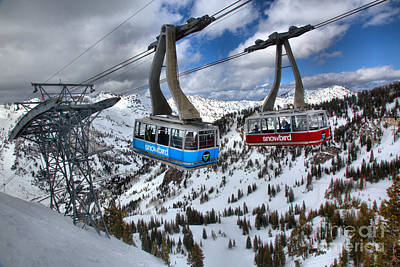 Photograph - Snowbird Hidden Peak Trams by Adam Jewell