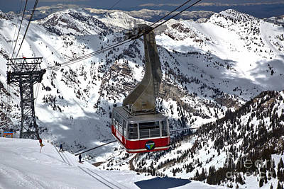 Photograph - Snowbird Ski Resort Red Tram Car by Adam Jewell