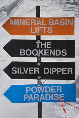Photograph - Snowbird Ski Slope Signs by Adam Jewell