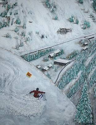 Skiing Action Painting - Snowbird Steeps by Michael Cuozzo