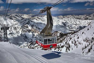 Arial Photograph - Snowbird Tram Approaching Hidden Peak by Adam Jewell