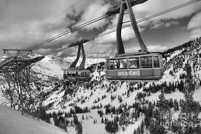 Photograph - Snowbird Tram Cars Over Cirque by Adam Jewell