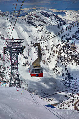 Arial Photograph - Snowbird Tram Portrait by Adam Jewell