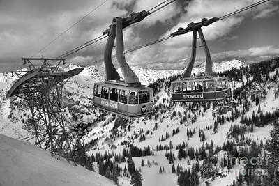 Photograph - Snowbird Trams Meet Black And White by Adam Jewell