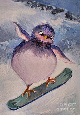 Painting - Snowboard Bird by Diane Ursin