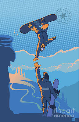 Snowboard High Five Art Print
