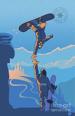 Mountain Sunset Painting - Snowboard High Five by Sassan Filsoof