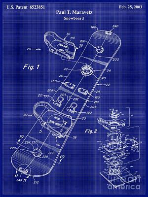 Snowboard Patent Blueprint Drawing Lt Art Print by Jon Neidert