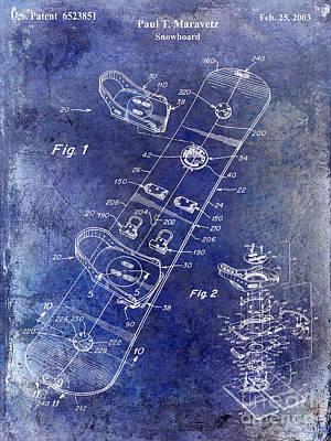 Snowboard Patent Drawing Blue Art Print by Jon Neidert