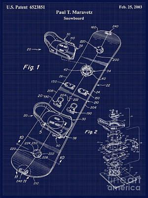 Snowboard Patent Blueprint Drawing Art Print by Jon Neidert