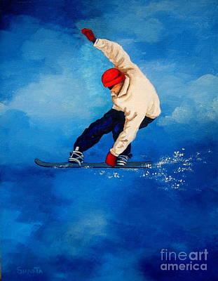 Snowboard Art Print by Shasta Eone