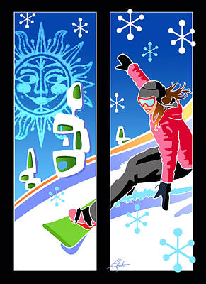 Digital Art - Snowboarder Diptych Mid-century Modern by Larry Hunter