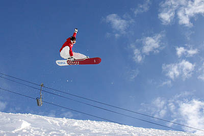 Photograph - Snowboarder Indy Grab Chamonix France by Pierre Leclerc Photography