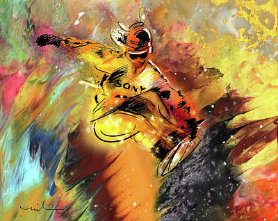 Painting - Snowboarding 04 by Miki De Goodaboom