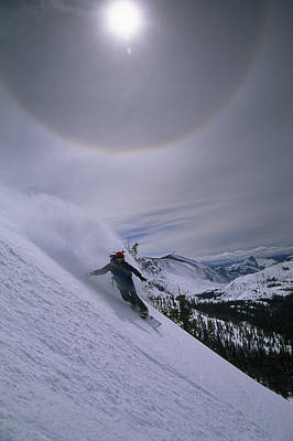 Number Of People Photograph - Snowboarding Down A Peak In Yosemite by Bill Hatcher