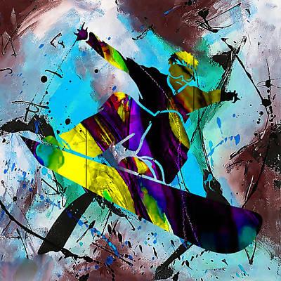 Mixed Media - Snowboarding Downhill by Marvin Blaine