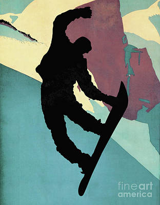 Snowboarding Dude, Morning Light Art Print by Tina Lavoie