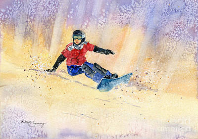 Skiing Action Painting - Snowboarding by Melly Terpening